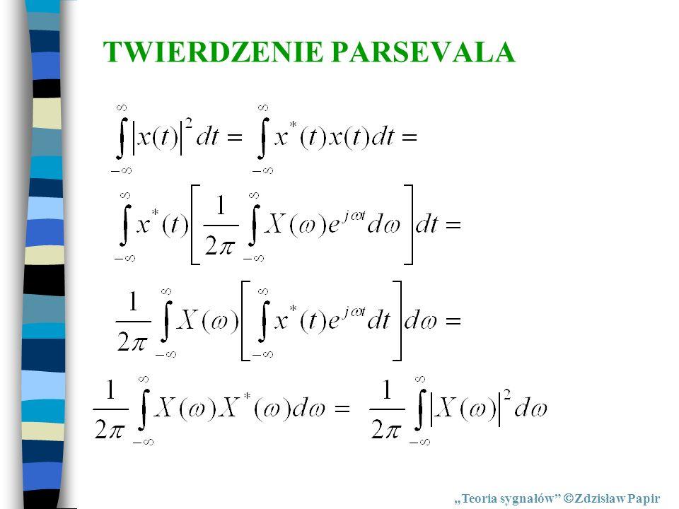 TWIERDZENIE PARSEVALA Teoria sygnałów Zdzisław Papir