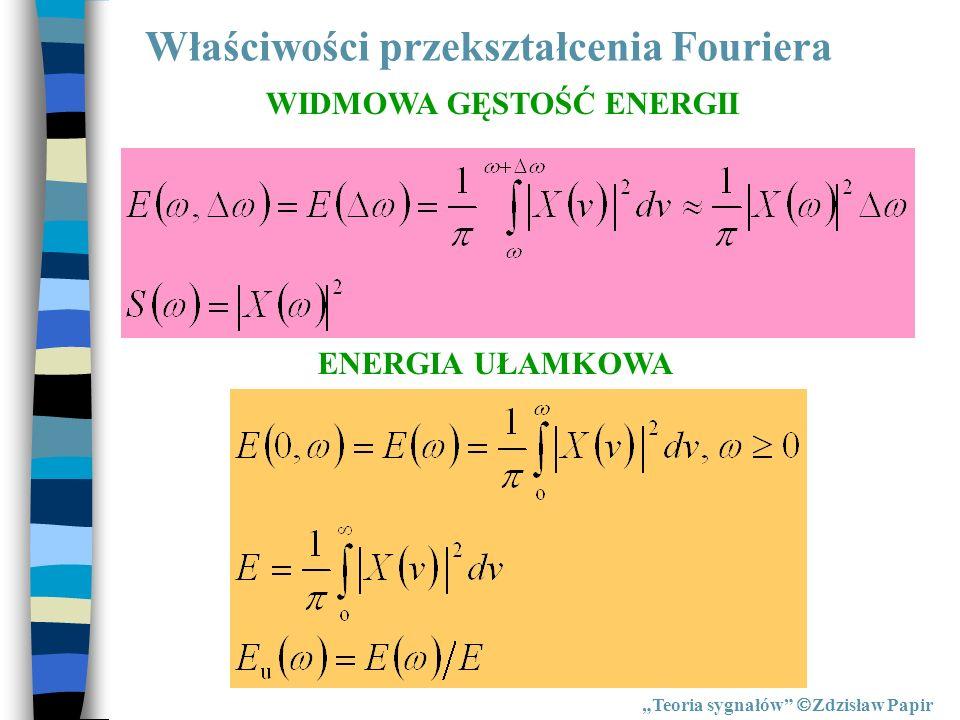 Właściwości przekształcenia Fouriera Teoria sygnałów Zdzisław Papir ENERGIA UŁAMKOWA WIDMOWA GĘSTOŚĆ ENERGII