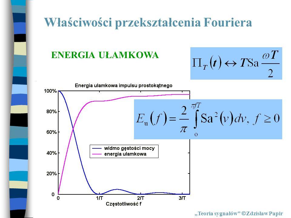 Właściwości przekształcenia Fouriera Teoria sygnałów Zdzisław Papir ENERGIA UŁAMKOWA