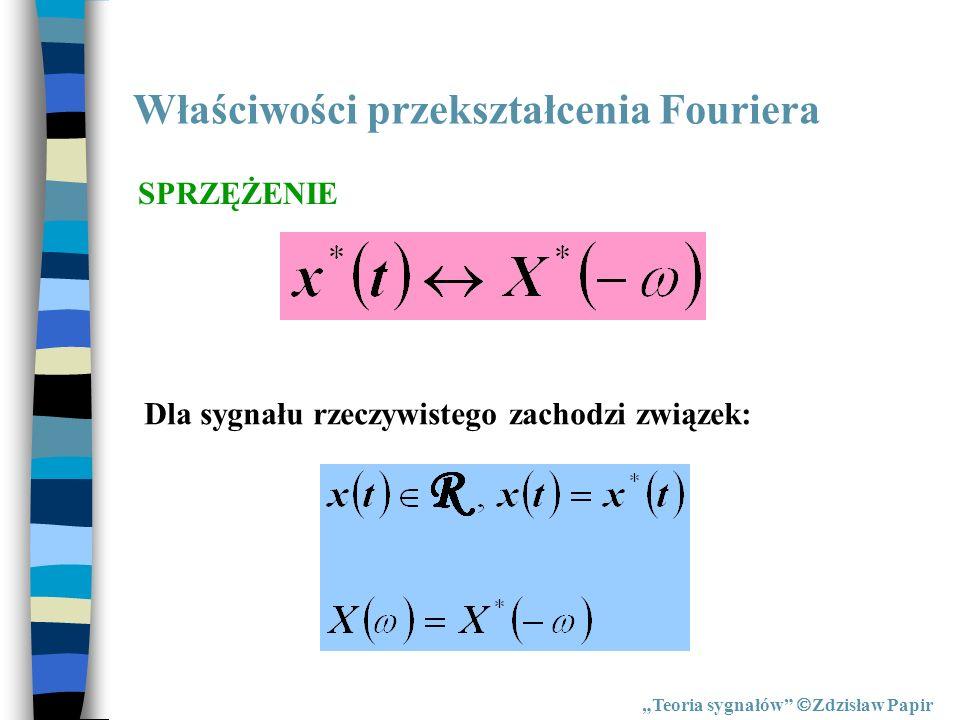 Właściwości przekształcenia Fouriera Teoria sygnałów Zdzisław Papir SPRZĘŻENIE Dla sygnału rzeczywistego zachodzi związek: