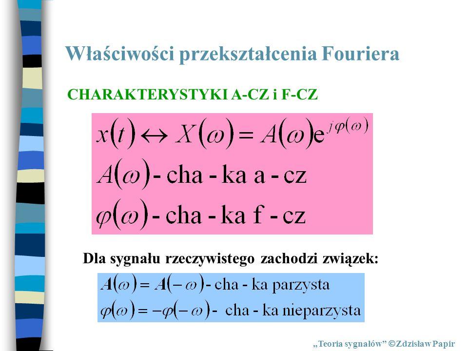 Właściwości przekształcenia Fouriera Teoria sygnałów Zdzisław Papir CHARAKTERYSTYKI A-CZ i F-CZ Dla sygnału rzeczywistego zachodzi związek: