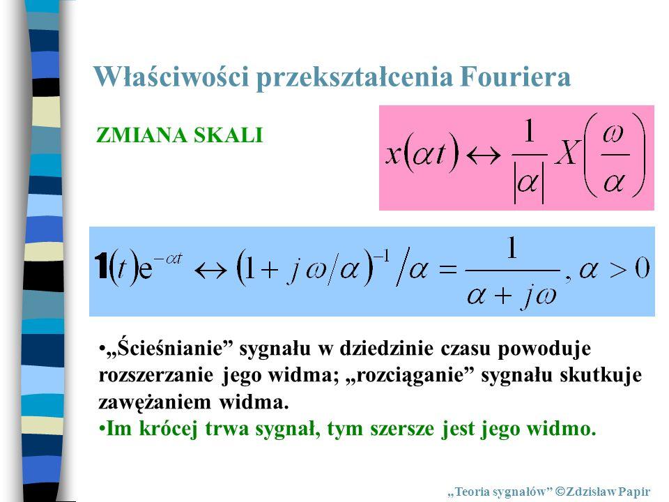 Właściwości przekształcenia Fouriera Teoria sygnałów Zdzisław Papir ZMIANA SKALI Ścieśnianie sygnału w dziedzinie czasu powoduje rozszerzanie jego wid