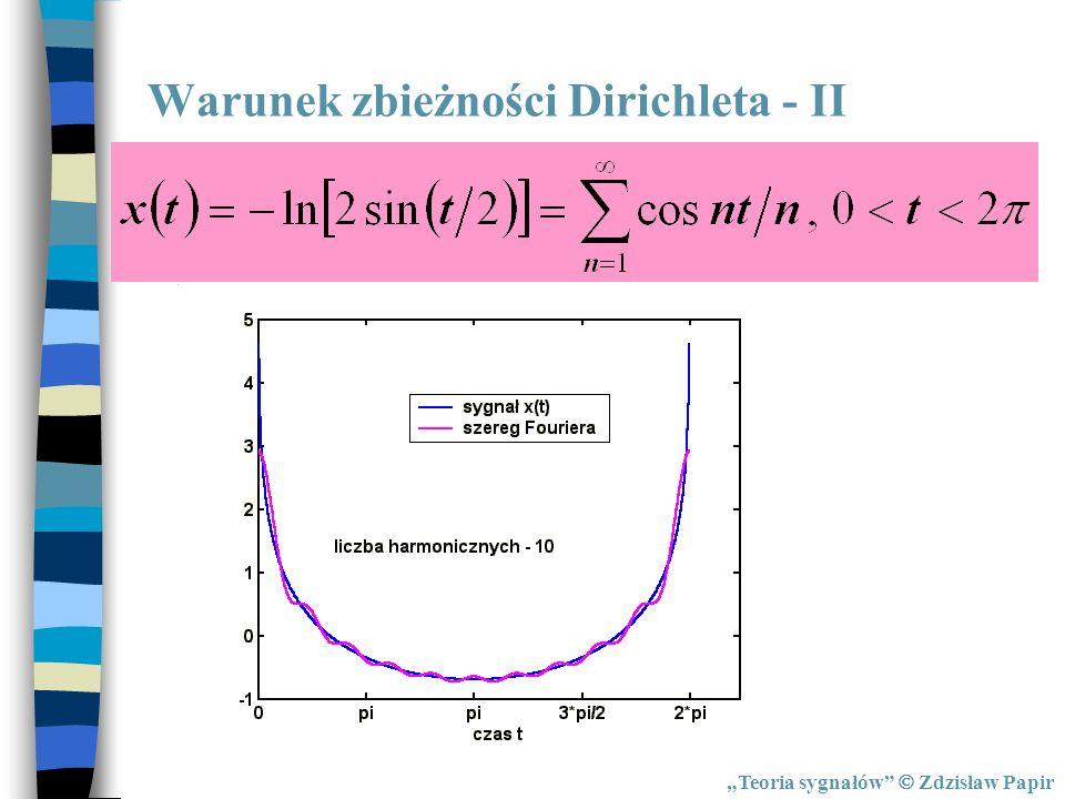 Teoria sygnałów Zdzisław Papir Warunek zbieżności Dirichleta - II