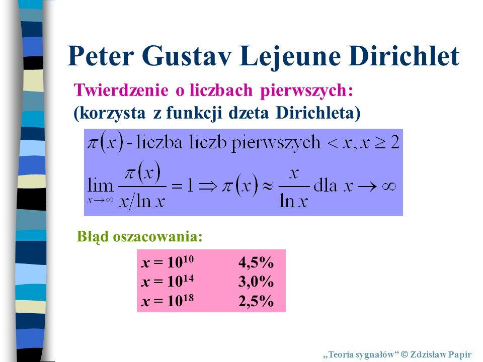 Teoria sygnałów Zdzisław Papir Peter Gustav Lejeune Dirichlet Twierdzenie o liczbach pierwszych: (korzysta z funkcji dzeta Dirichleta) Błąd oszacowani