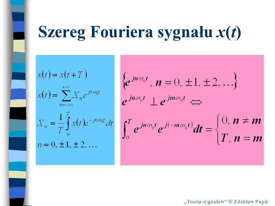Teoria sygnałów Zdzisław Papir Szereg Fouriera sygnału x(t)