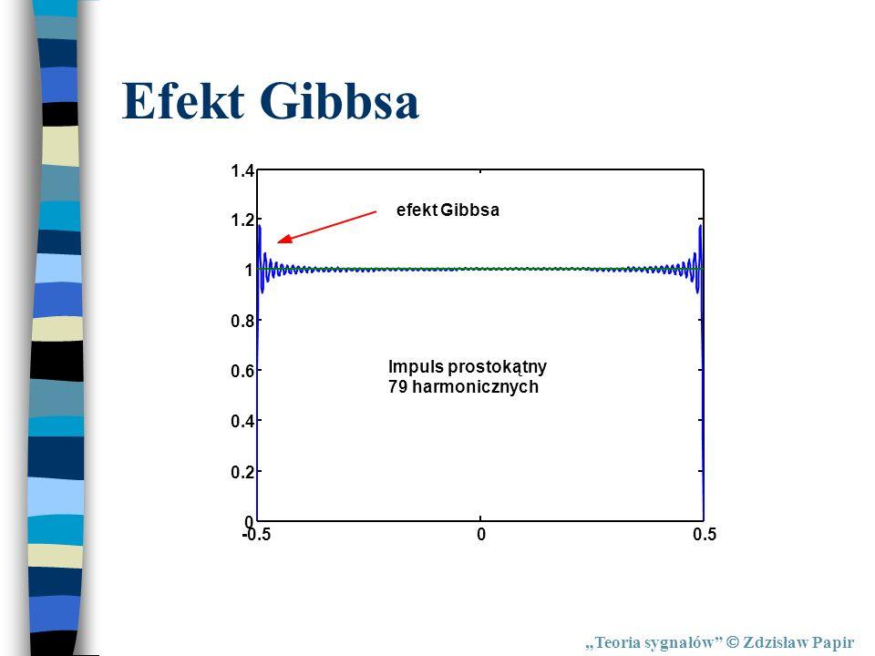 Teoria sygnałów Zdzisław Papir Efekt Gibbsa -0.500.5 0 0.2 0.4 0.6 0.8 1 1.2 1.4 efekt Gibbsa Impuls prostokątny 79 harmonicznych