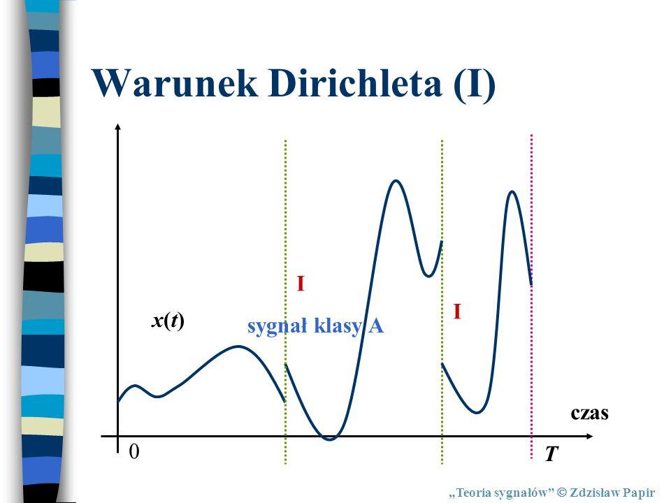 Warunek Dirichleta (I) Teoria sygnałów Zdzisław Papir czas x(t)x(t) 0 T sygnał klasy A I I