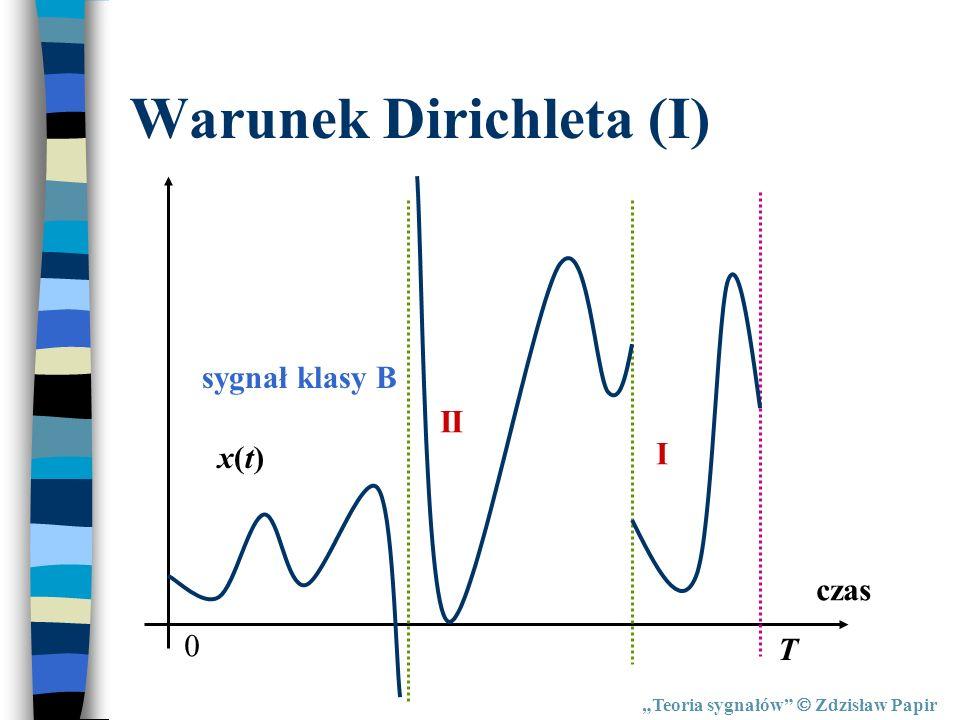 Warunek Dirichleta (I) Teoria sygnałów Zdzisław Papir czas x(t)x(t) 0 T sygnał klasy B I II