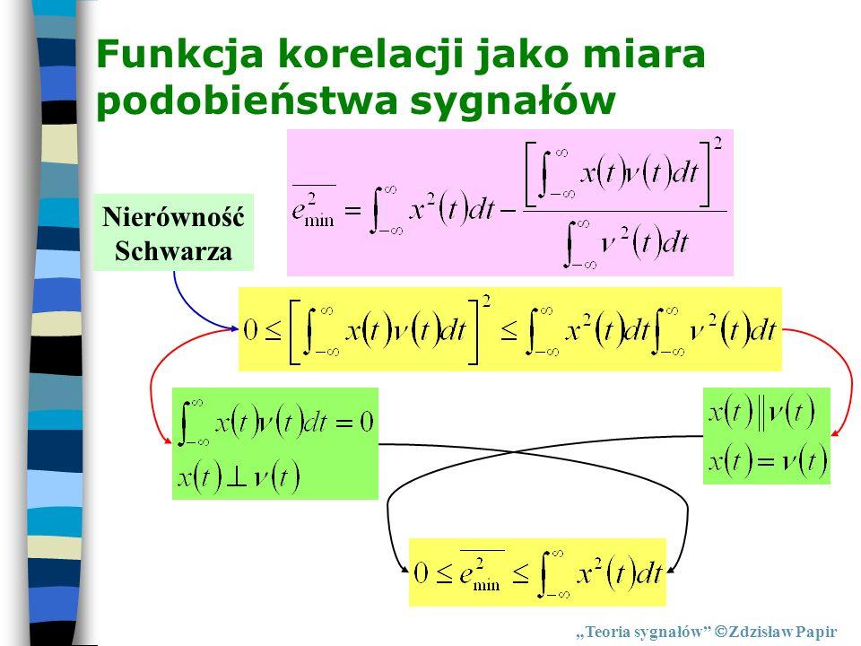 Funkcja korelacji jako miara podobieństwa sygnałów Teoria sygnałów Zdzisław Papir Nierówność Schwarza