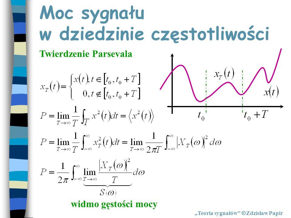 Moc sygnału w dziedzinie częstotliwości Teoria sygnałów Zdzisław Papir Twierdzenie Parsevala widmo gęstości mocy