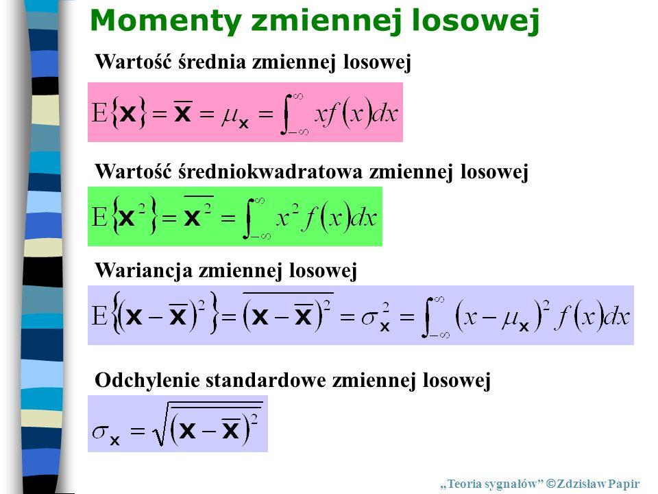 Teoria sygnałów Zdzisław Papir Momenty zmiennej losowej Wartość średnia zmiennej losowej Wartość średniokwadratowa zmiennej losowej Wariancja zmiennej