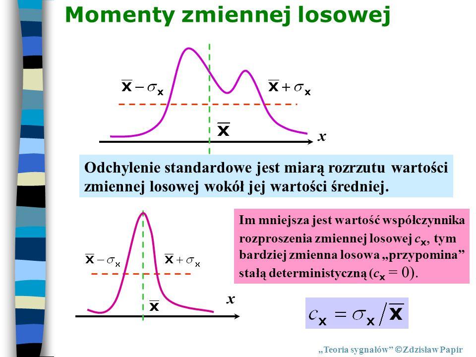 Teoria sygnałów Zdzisław Papir Momenty zmiennej losowej Odchylenie standardowe jest miarą rozrzutu wartości zmiennej losowej wokół jej wartości średni