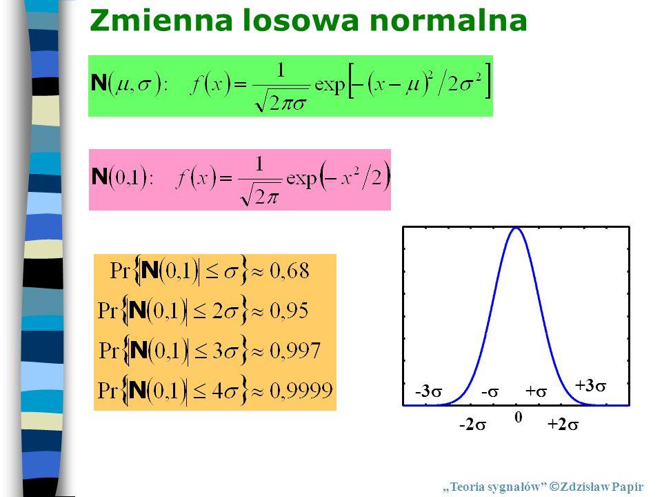 Teoria sygnałów Zdzisław Papir Zmienna losowa normalna 0 + +2 - +3 -2 -3