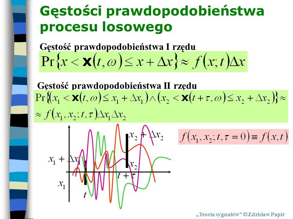 Gęstości prawdopodobieństwa procesu losowego Teoria sygnałów Zdzisław Papir Gęstość prawdopodobieństwa I rzędu Gęstość prawdopodobieństwa II rzędu