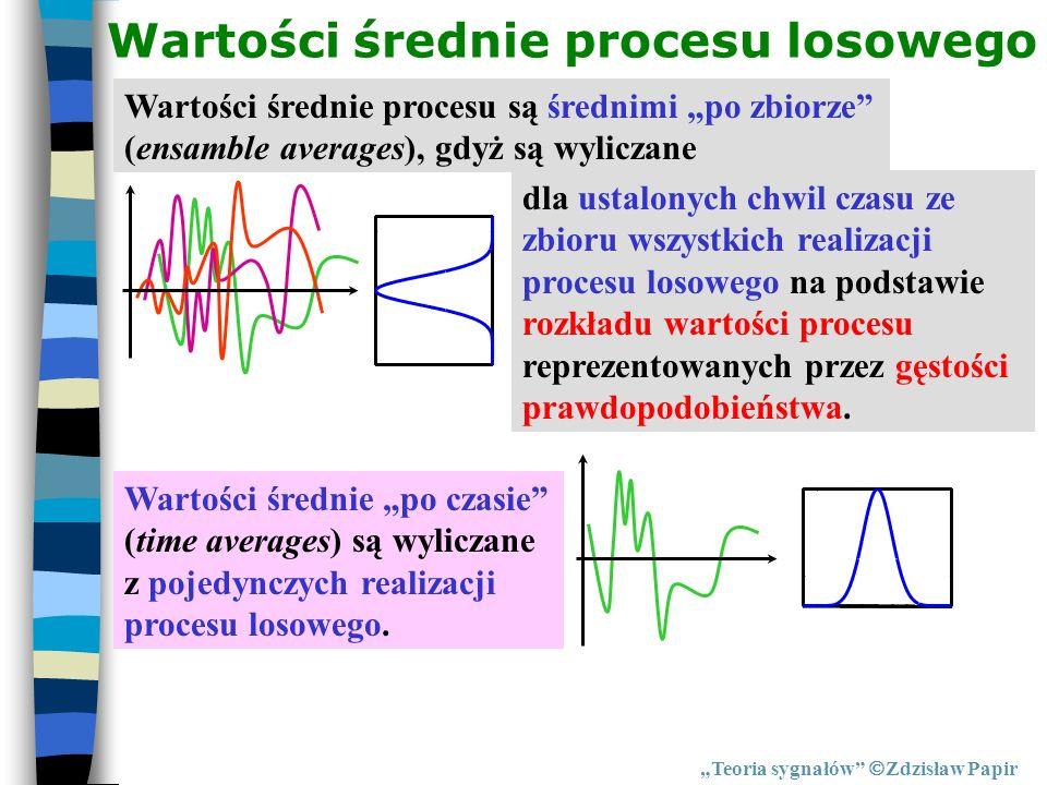 Wartości średnie procesu losowego Teoria sygnałów Zdzisław Papir Wartości średnie procesu są średnimi po zbiorze (ensamble averages), gdyż są wyliczan