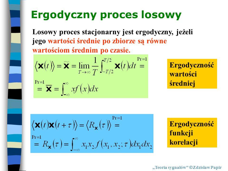 Ergodyczny proces losowy Teoria sygnałów Zdzisław Papir Losowy proces stacjonarny jest ergodyczny, jeżeli jego wartości średnie po zbiorze są równe wa