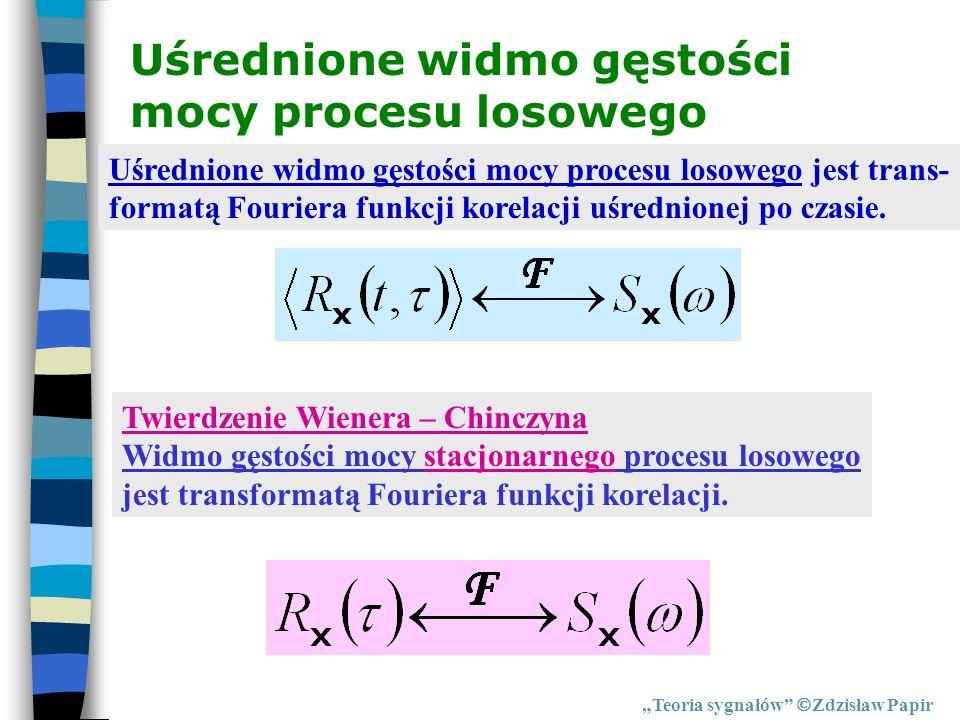 Teoria sygnałów Zdzisław Papir Uśrednione widmo gęstości mocy procesu losowego Twierdzenie Wienera – Chinczyna Widmo gęstości mocy stacjonarnego proce