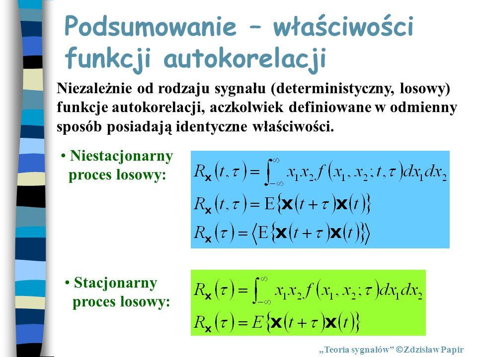 Podsumowanie – właściwości funkcji autokorelacji Teoria sygnałów Zdzisław Papir Niezależnie od rodzaju sygnału (deterministyczny, losowy) funkcje auto