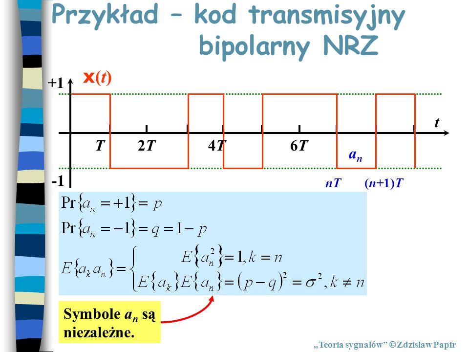 Przykład – kod transmisyjny bipolarny NRZ Teoria sygnałów Zdzisław Papir Symbole a n są niezależne. T2T2T4T4T6T6T +1 t x(t)x(t) nT(n+1)T anan