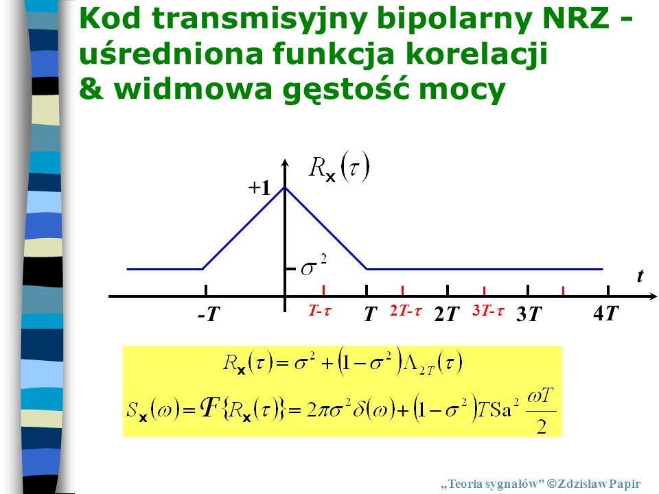Kod transmisyjny bipolarny NRZ - uśredniona funkcja korelacji & widmowa gęstość mocy Teoria sygnałów Zdzisław Papir T2T2T3T3T 4T4T t +1 -T T- 2T- 3T-