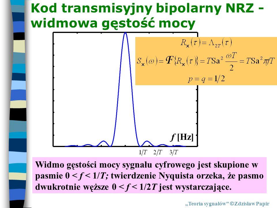 Kod transmisyjny bipolarny NRZ - widmowa gęstość mocy Teoria sygnałów Zdzisław Papir f [Hz] Widmo gęstości mocy sygnału cyfrowego jest skupione w pasm