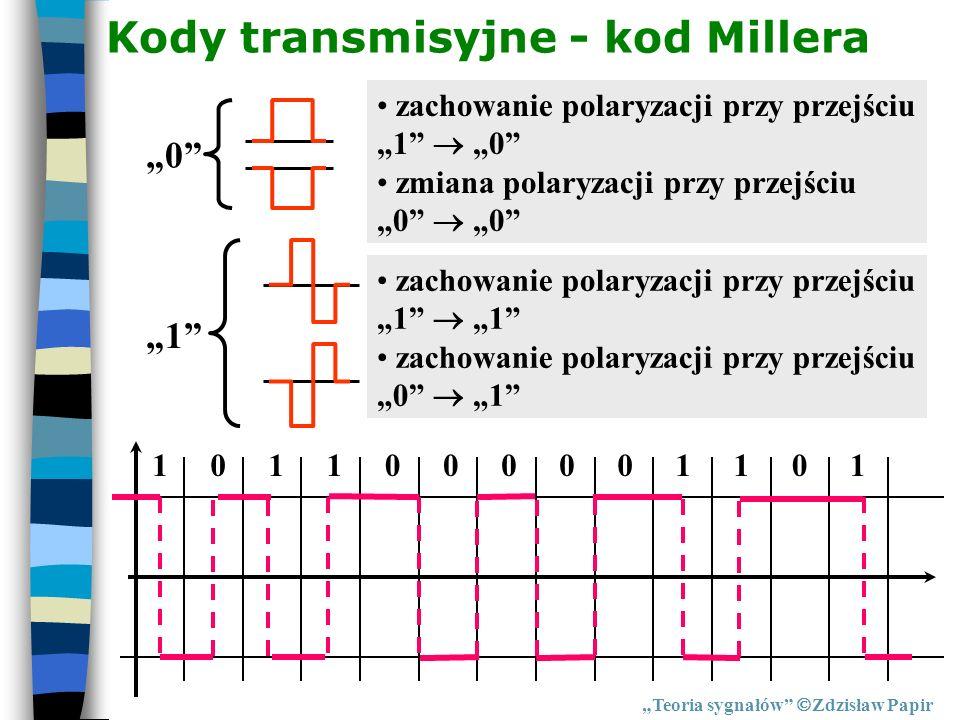 Kody transmisyjne - kod Millera Teoria sygnałów Zdzisław Papir 0 zachowanie polaryzacji przy przejściu 1 0 zmiana polaryzacji przy przejściu 0 0 1 zac