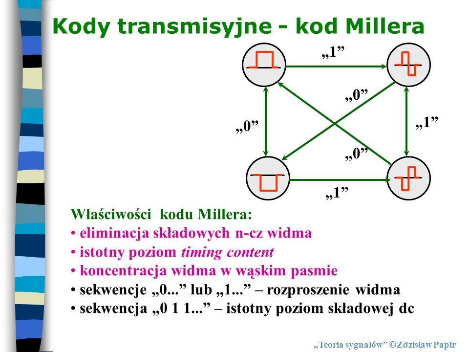 Kody transmisyjne - kod Millera Teoria sygnałów Zdzisław Papir 1 0 1 1 0 0 Właściwości kodu Millera: eliminacja składowych n-cz widma istotny poziom t