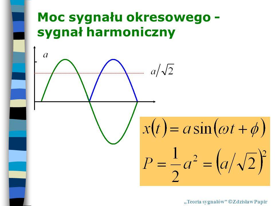 Moc sygnału okresowego - sygnał harmoniczny Teoria sygnałów Zdzisław Papir