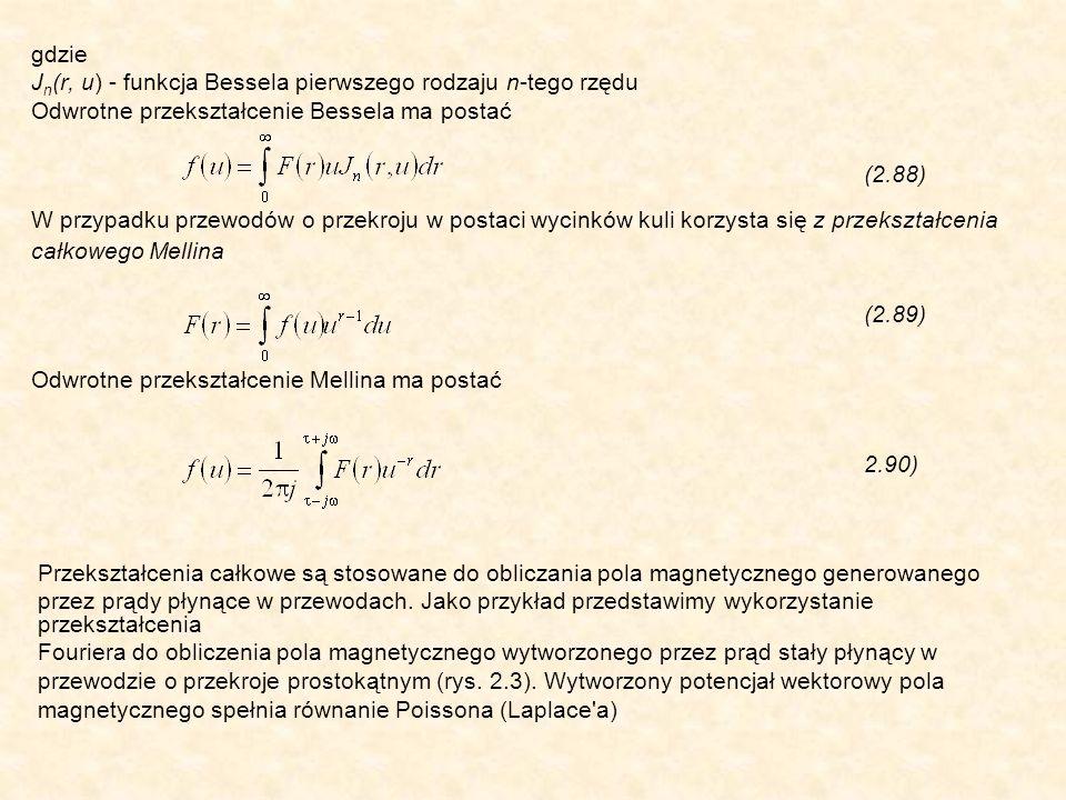 gdzie J n (r, u) - funkcja Bessela pierwszego rodzaju n-tego rzędu Odwrotne przekształcenie Bessela ma postać (2.88) W przypadku przewodów o przekroju w postaci wycinków kuli korzysta się z przekształcenia całkowego Mellina (2.89) Odwrotne przekształcenie Mellina ma postać 2.90) Przekształcenia całkowe są stosowane do obliczania pola magnetycznego generowanego przez prądy płynące w przewodach.