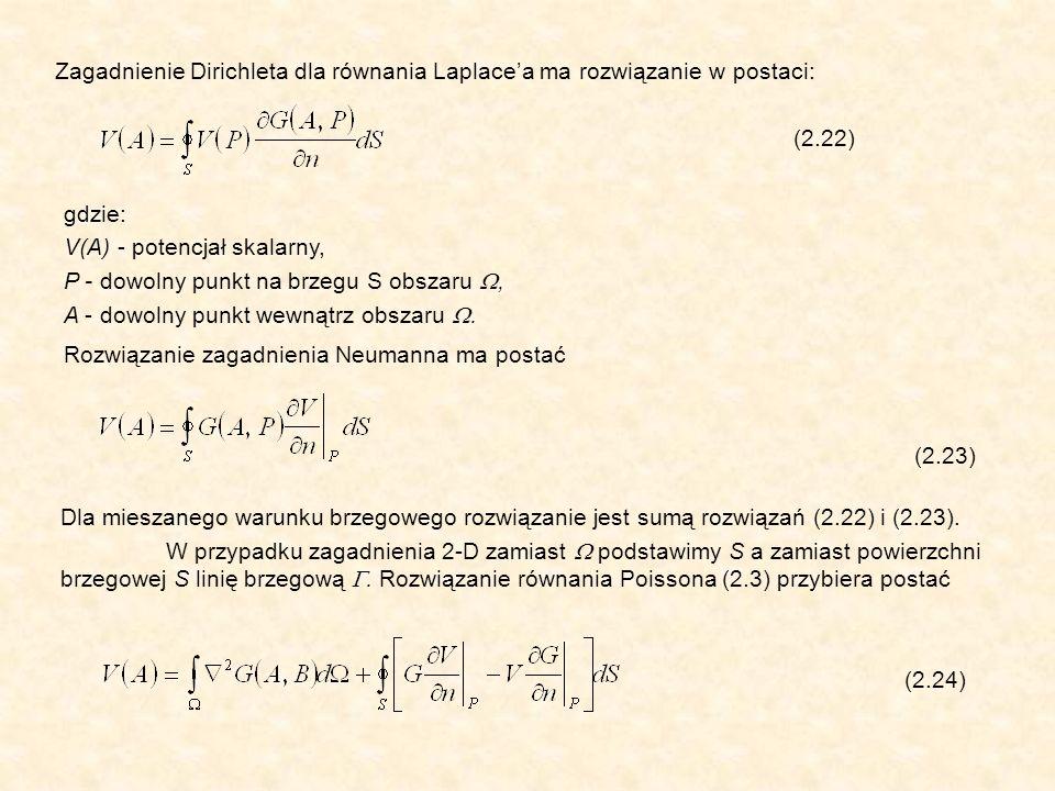 Zagadnienie Dirichleta dla równania Laplacea ma rozwiązanie w postaci: (2.22) gdzie: V(A) - potencjał skalarny, P - dowolny punkt na brzegu S obszaru, A - dowolny punkt wewnątrz obszaru.
