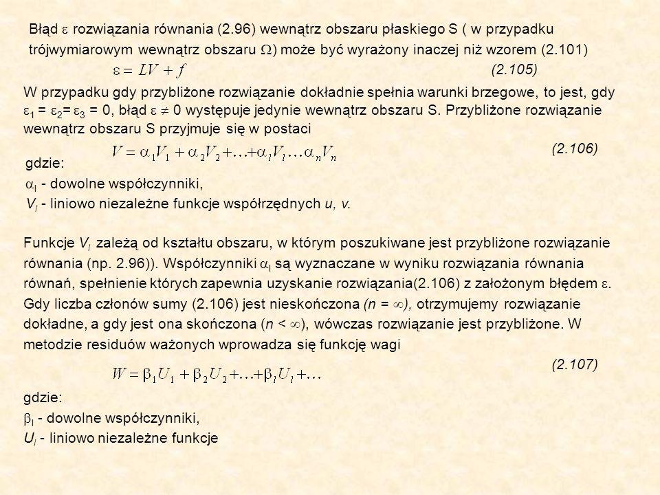 Błąd rozwiązania równania (2.96) wewnątrz obszaru płaskiego S ( w przypadku trójwymiarowym wewnątrz obszaru ) może być wyrażony inaczej niż wzorem (2.101) (2.105) W przypadku gdy przybliżone rozwiązanie dokładnie spełnia warunki brzegowe, to jest, gdy 1 = 2 = 3 = 0, błąd 0 występuje jedynie wewnątrz obszaru S.