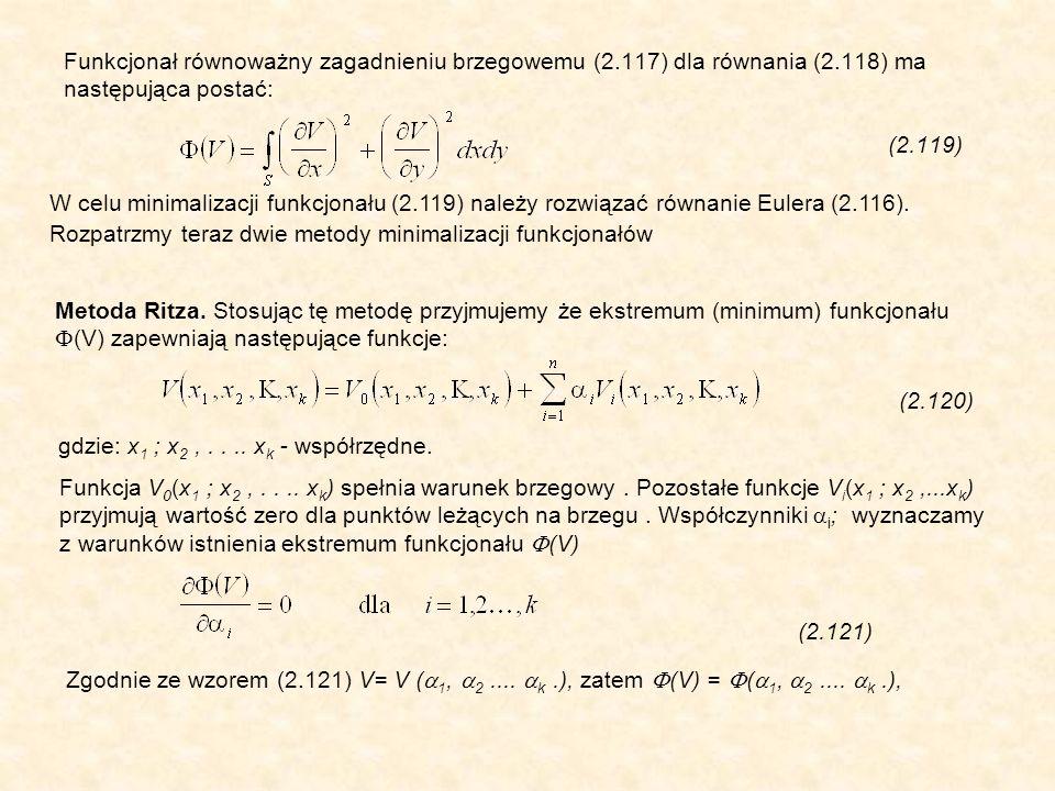 Funkcjonał równoważny zagadnieniu brzegowemu (2.117) dla równania (2.118) ma następująca postać: (2.119) W celu minimalizacji funkcjonału (2.119) należy rozwiązać równanie Eulera (2.116).