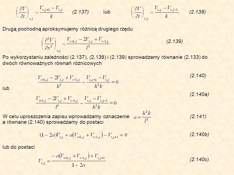 Drugą pochodną aproksymujemy różnicą drugiego rzędu (2.139) (2.137) lub (2.138) Po wykorzystaniu zależności (2.137), (2.138) i (2.139) sprowadzamy równanie (2.133) do dwóch równoważnych równań różnicowych (2.140) lub (2.140a) a równane (2.140) sprowadzamy do postaci (2.140b) lub do postaci (2.140c) W celu uproszczenia zapisu wprowadzamy oznaczenie (2.141)