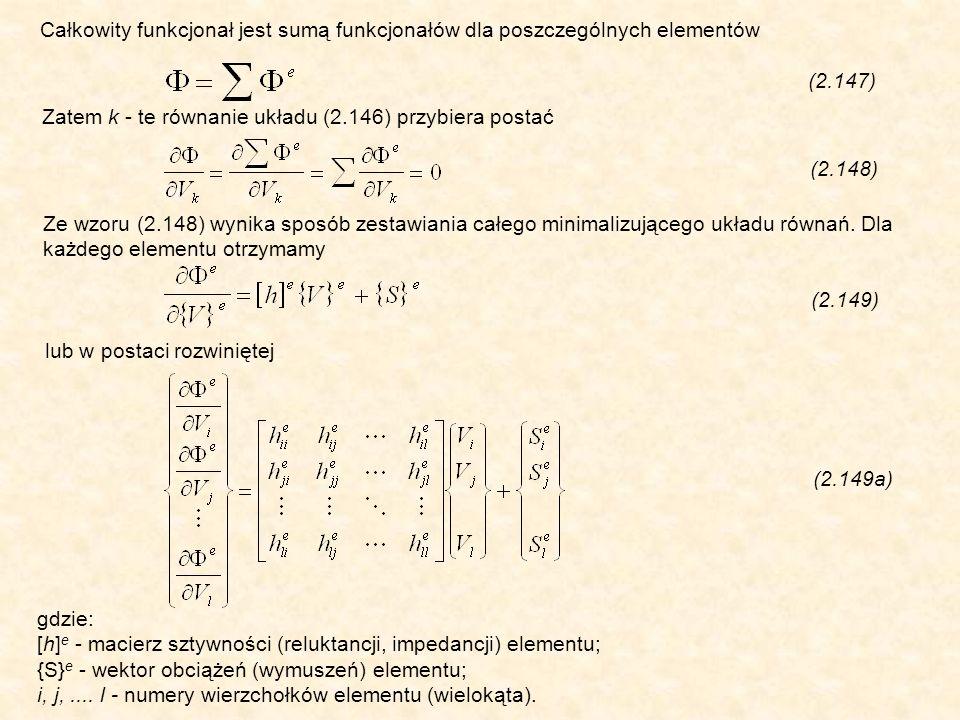 Zatem k - te równanie układu (2.146) przybiera postać (2.148) Całkowity funkcjonał jest sumą funkcjonałów dla poszczególnych elementów (2.147) Ze wzoru (2.148) wynika sposób zestawiania całego minimalizującego układu równań.