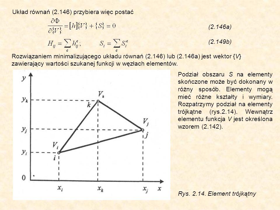 Układ równań (2.146) przybiera więc postać (2.146a) (2.149b) Podział obszaru S na elementy skończone może być dokonany w różny sposób.