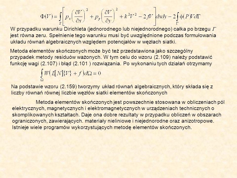 W przypadku warunku Dirichleta (jednorodnego lub niejednorodnego) całka po brzegu jest równa zeru.
