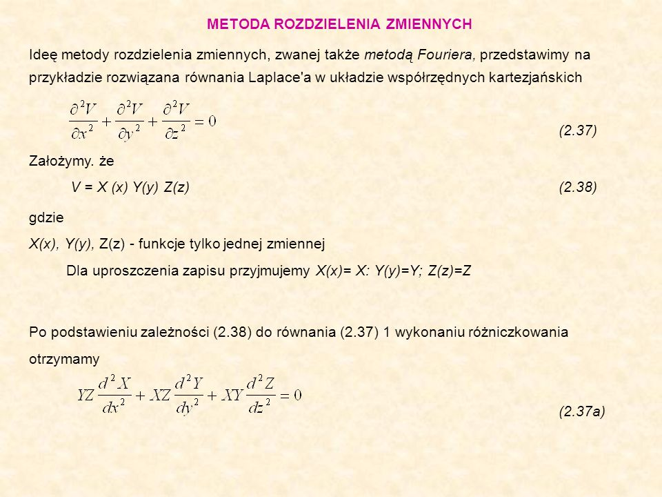 Metoda różnic skończonych polega na: - sprowadzeniu równania różniczkowego cząstkowego do równania różnicowego, - sformułowaniu układu równań algebraicznych równoważnego równaniu różnicowemu, - rozwiązaniu równań algebraicznych i na tej podstawie wyznaczeniu rozwiązania równani różniczkowego.