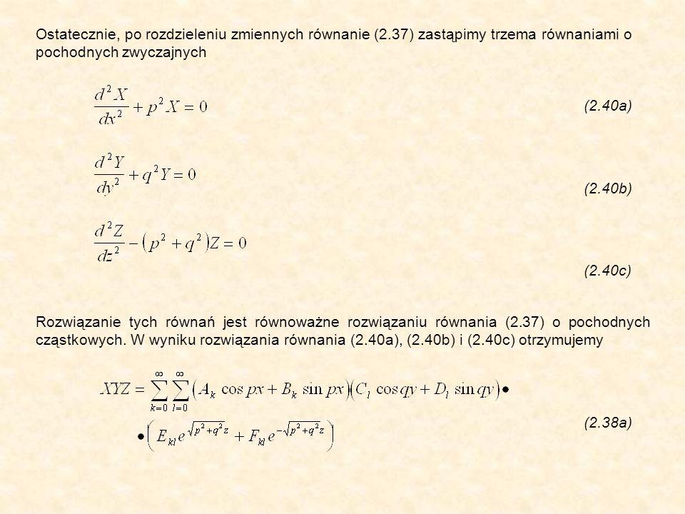 (2.70) Wyprowadzając wzór (2.69), wzięto pod uwagę, że normalna do powierzchni całkowania jest skierowana do środka okręgu, tzn.