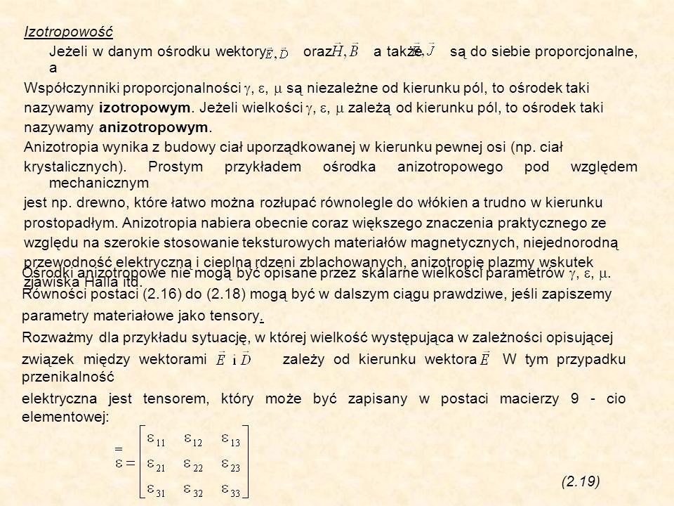 Izotropowość Jeżeli w danym ośrodku wektory oraz a także są do siebie proporcjonalne, a Współczynniki proporcjonalności,, są niezależne od kierunku pó