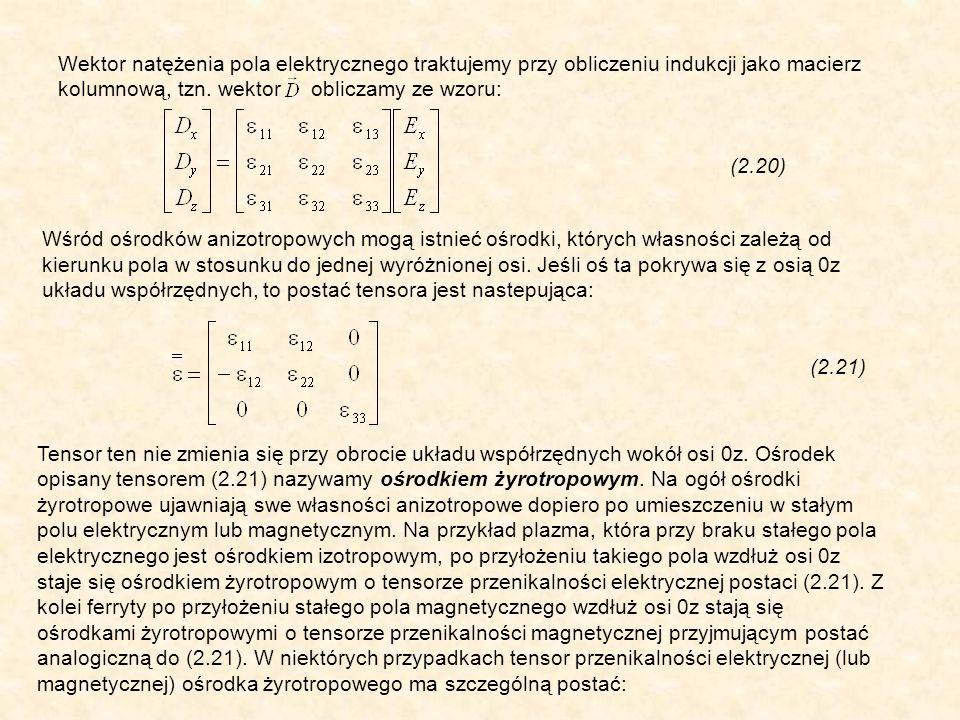 Wektor natężenia pola elektrycznego traktujemy przy obliczeniu indukcji jako macierz kolumnową, tzn. wektor obliczamy ze wzoru: (2.20) Wśród ośrodków