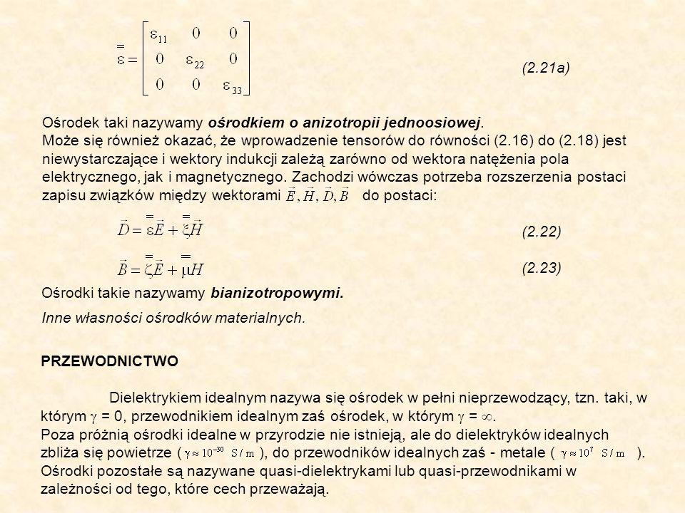 (2.21a) Ośrodek taki nazywamy ośrodkiem o anizotropii jednoosiowej. Może się również okazać, że wprowadzenie tensorów do równości (2.16) do (2.18) jes