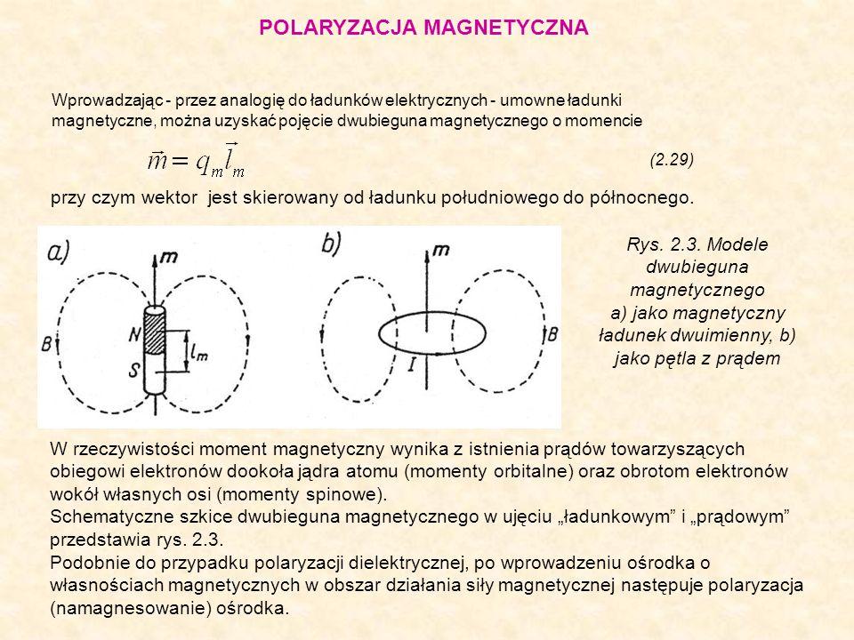 Wprowadzając - przez analogię do ładunków elektrycznych - umowne ładunki magnetyczne, można uzyskać pojęcie dwubieguna magnetycznego o momencie (2.29)