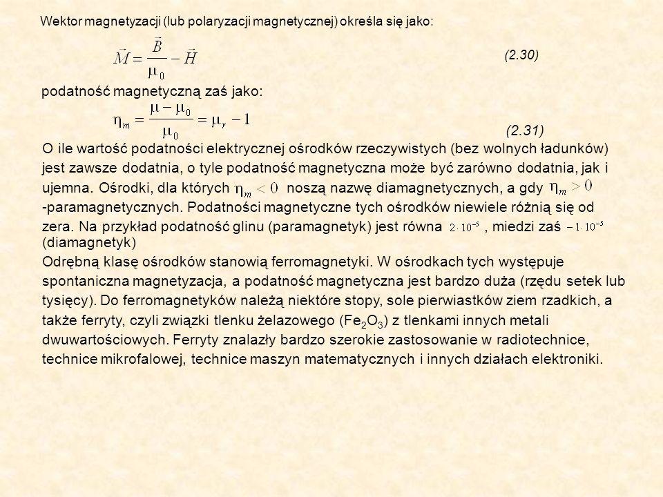 Wektor magnetyzacji (lub polaryzacji magnetycznej) określa się jako: (2.30) O ile wartość podatności elektrycznej ośrodków rzeczywistych (bez wolnych