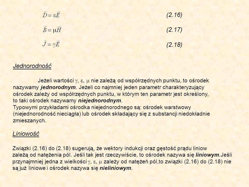 (2.16) (2.17) (2.18) Jednorodność Jeżeli wartości,, nie zależą od współrzędnych punktu, to ośrodek nazywamy jednorodnym. Jeżeli co najmniej jeden para