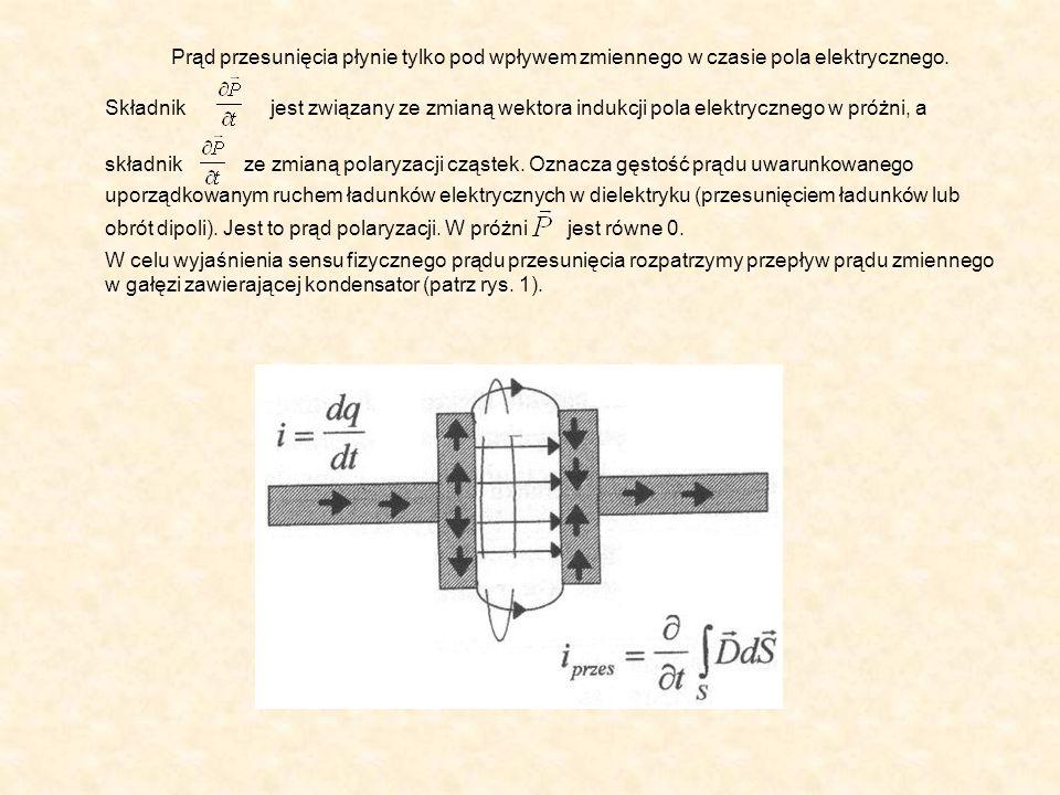 W przewodach dołączonych do okładek kondensatora istnieje przepływ ładunków, wobec czego płynie prąd przewodzenia określony jako pochodna czasowa ładunku przepływającego przez dowolny przekrój przewodu, czyli:.
