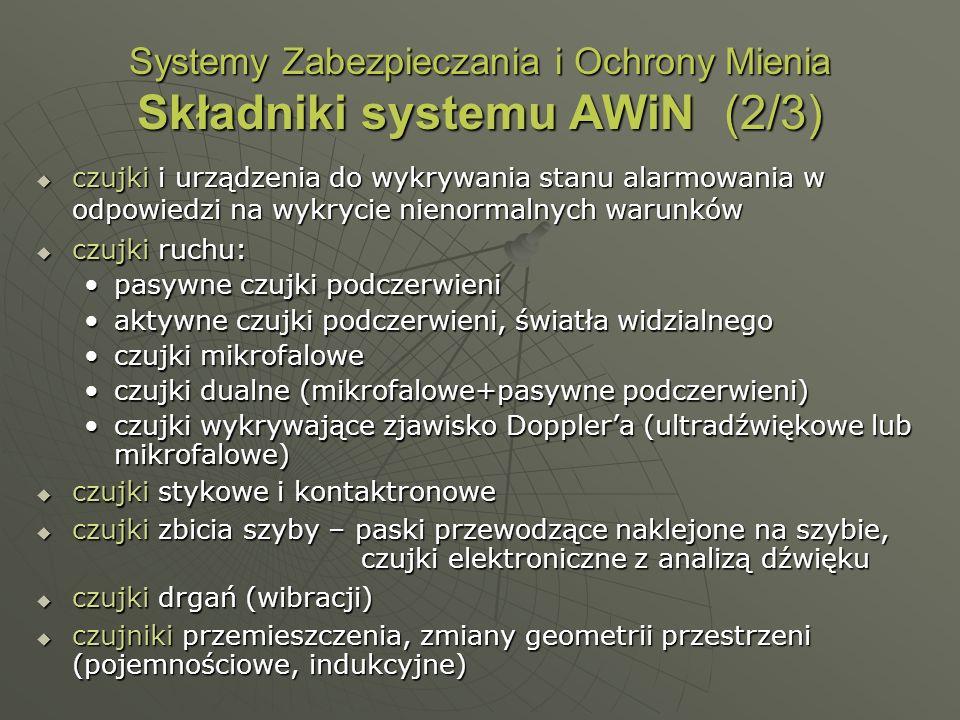 Systemy Zabezpieczania i Ochrony Mienia Składniki systemu AWiN (2/3) czujki i urządzenia do wykrywania stanu alarmowania w odpowiedzi na wykrycie nien