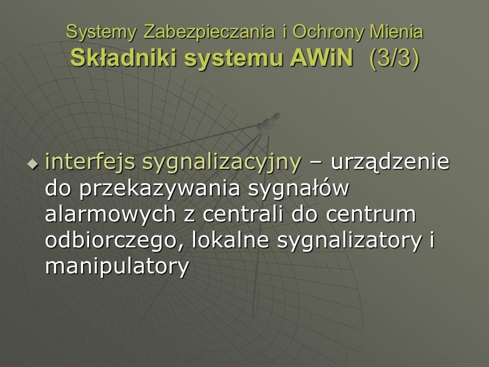 Systemy Zabezpieczania i Ochrony Mienia Składniki systemu AWiN (3/3) interfejs sygnalizacyjny – urządzenie do przekazywania sygnałów alarmowych z cent