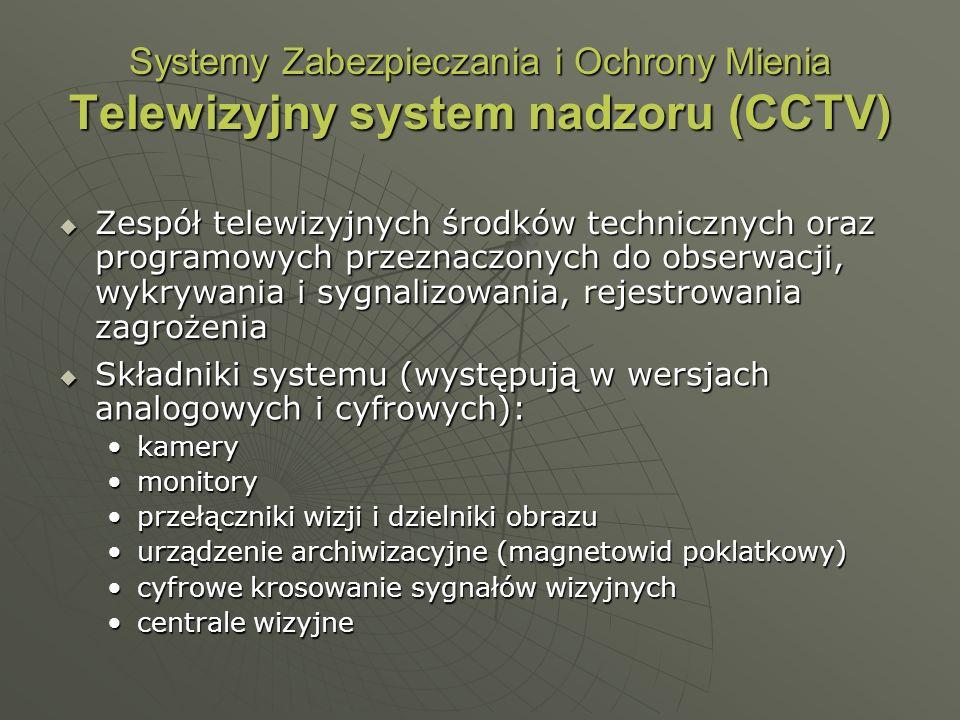 Systemy Zabezpieczania i Ochrony Mienia Telewizyjny system nadzoru (CCTV) Zespół telewizyjnych środków technicznych oraz programowych przeznaczonych d