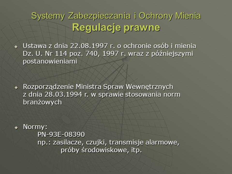 Systemy Zabezpieczania i Ochrony Mienia Regulacje prawne Ustawa z dnia 22.08.1997 r. o ochronie osób i mienia Dz. U. Nr 114 poz. 740, 1997 r. wraz z p