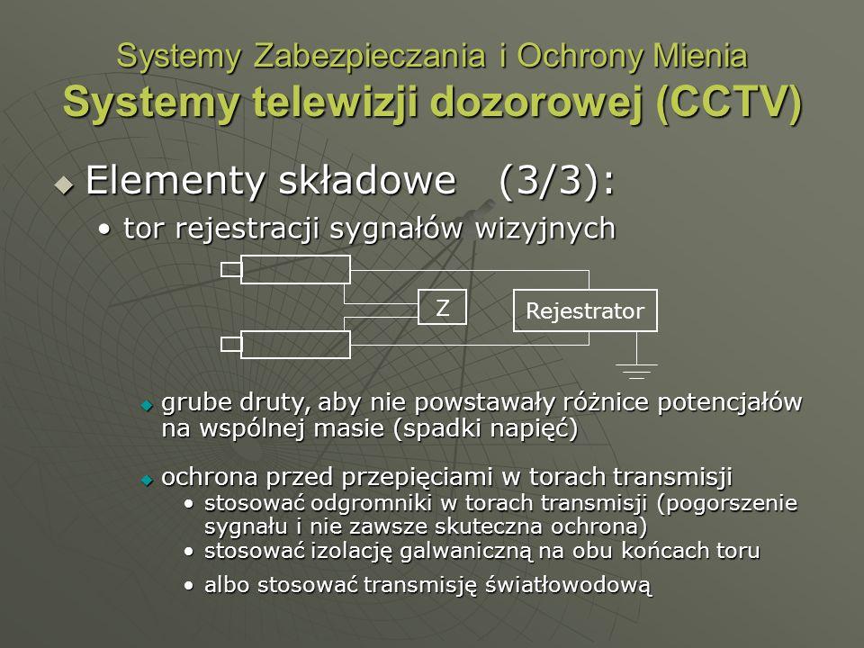 Systemy Zabezpieczania i Ochrony Mienia Systemy telewizji dozorowej (CCTV) Elementy składowe (3/3): Elementy składowe (3/3): tor rejestracji sygnałów